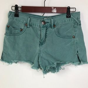 Free People GREEN Jean Shorts Distressed Denim